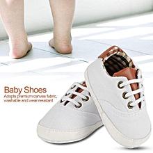 4e4926b9e8883 Fashionable Lace-up Baby Canvas Shoes Soft Anti-skid Toddler Infant  Prewalker(White