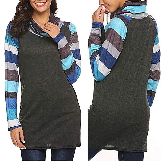 mode meibaol store femmes Cowl Neck Raglan rayé Patchwork manche longue Loose Tunic T-Shirt hauts à prix pas cher