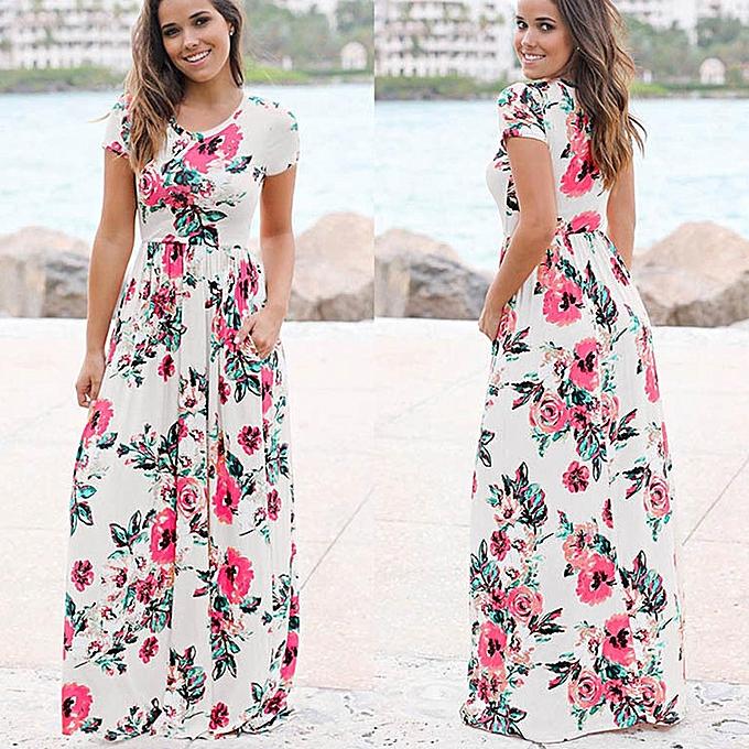 mode femmes été manche courte Floral Printed Long Maxi Robe à prix pas cher