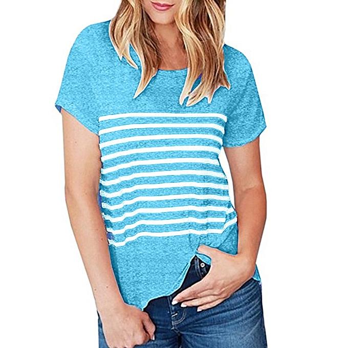 Generic Generic femmes Summer Short Sleeve Striped Patchwork Casual Blouse Top T Shirts A1 à prix pas cher