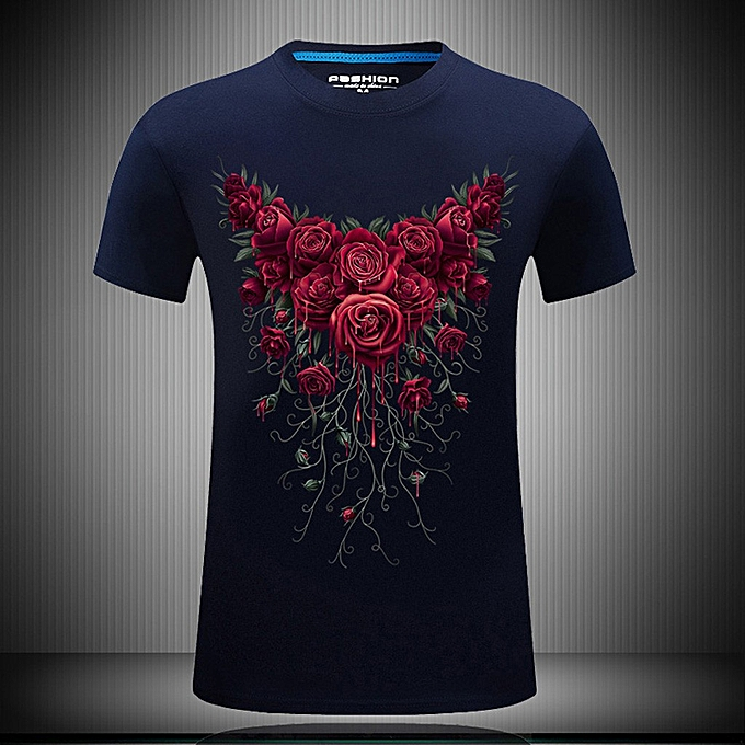 Fashion whiskyky store Men's New Summer Printed Casual Short Large Taille Round Neck T-shirt Tops à prix pas cher