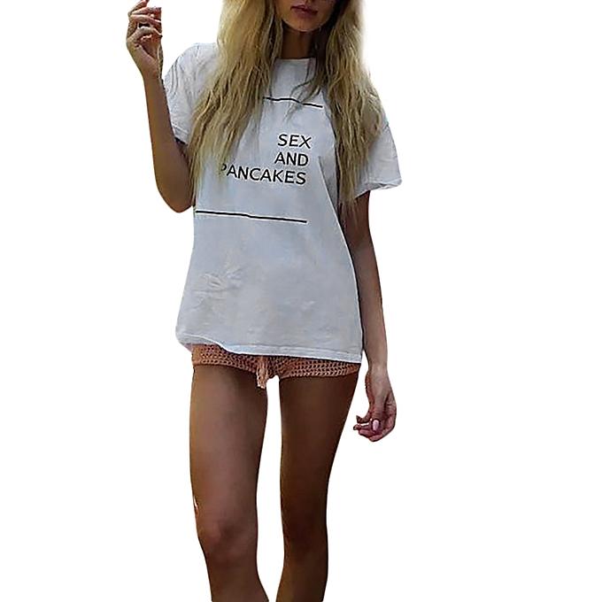 Generic Generic femmes Ladies manche courte Letter Printed chemisier hauts Clothes T Shirt A1 à prix pas cher