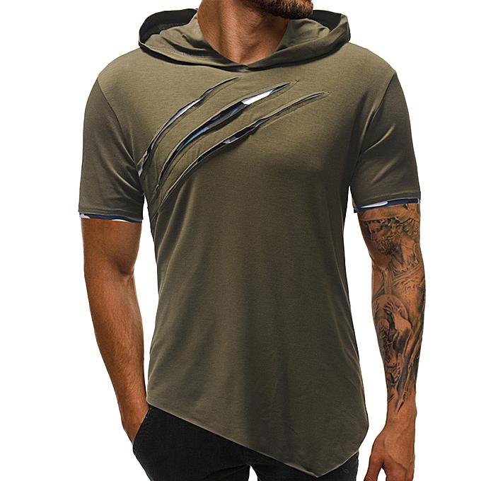 mode mode Personality Hommes& 039;s Pure Couleur sweat à capuche Sport manche courte Shirt Top chemisier  -vert à prix pas cher