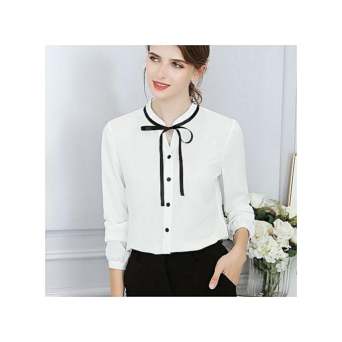 Generic New Korean femmes fashion wild thin long-sleeved solid Couleur trend slim shirt-blanc à prix pas cher