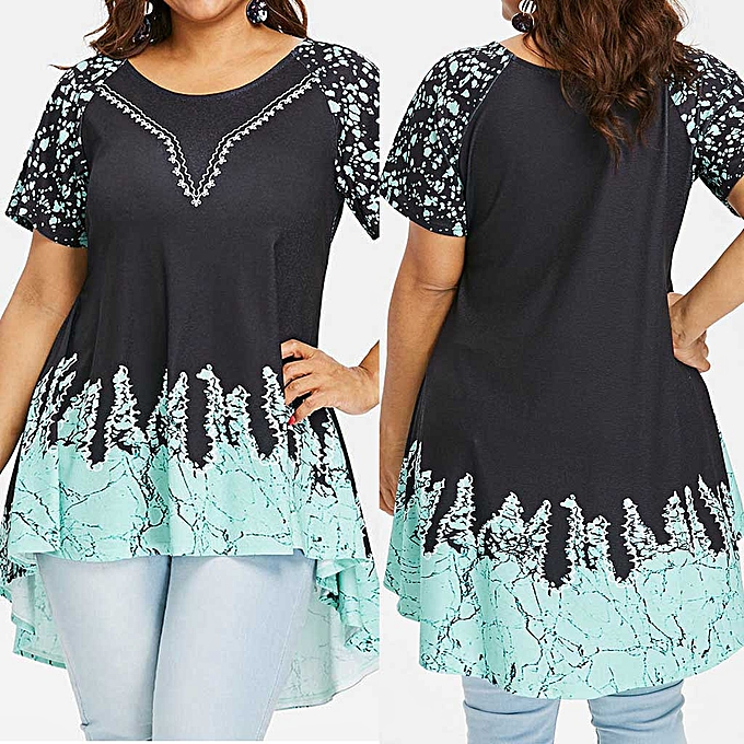 Fashion femmes Fashion Casual O-Neck Printing Blouse Irregular T-shirt Short Sleeve Tops à prix pas cher