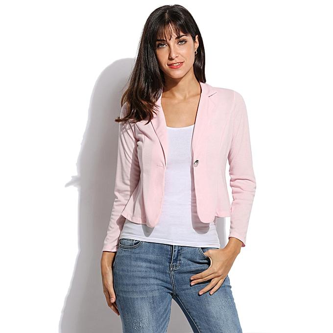Sunshine nouveau femmes OL Coat Lapel One Button manche longue courte Suit Blazer Outerwear 5 Couleurs-rose à prix pas cher