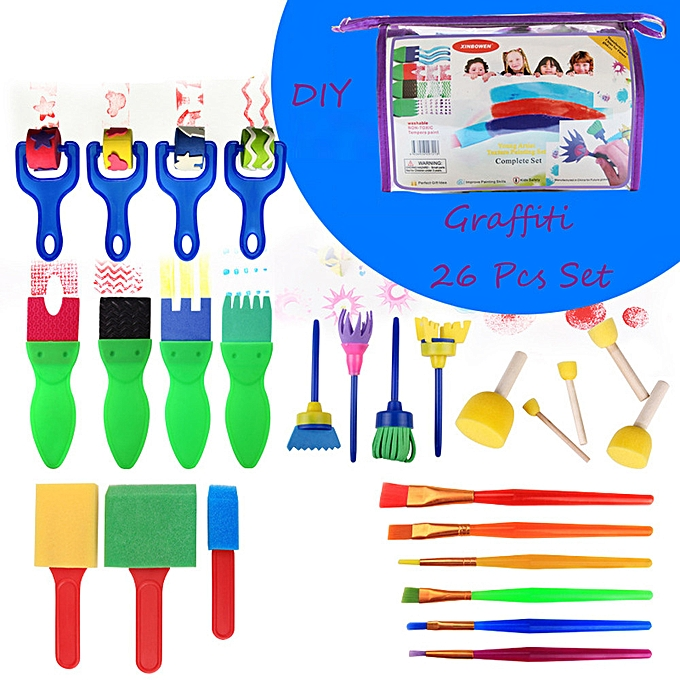 Generic 26 PCS  Creative Set Enfants Early Learning Sponge Painting DIY Graffit Brushes Set à prix pas cher