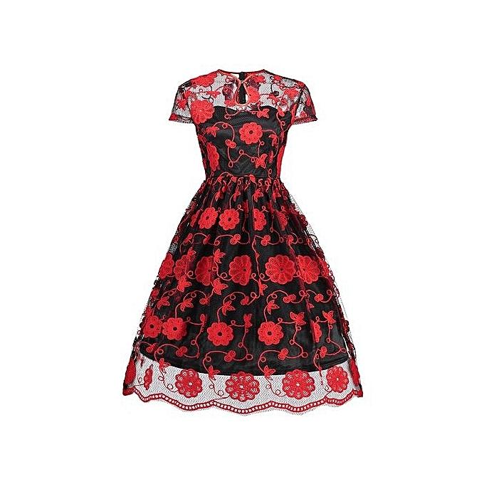 Generic HL Embroiderouge engrener Keyhole Vintage Robe (rouge With noir)(S-2XL) à prix pas cher