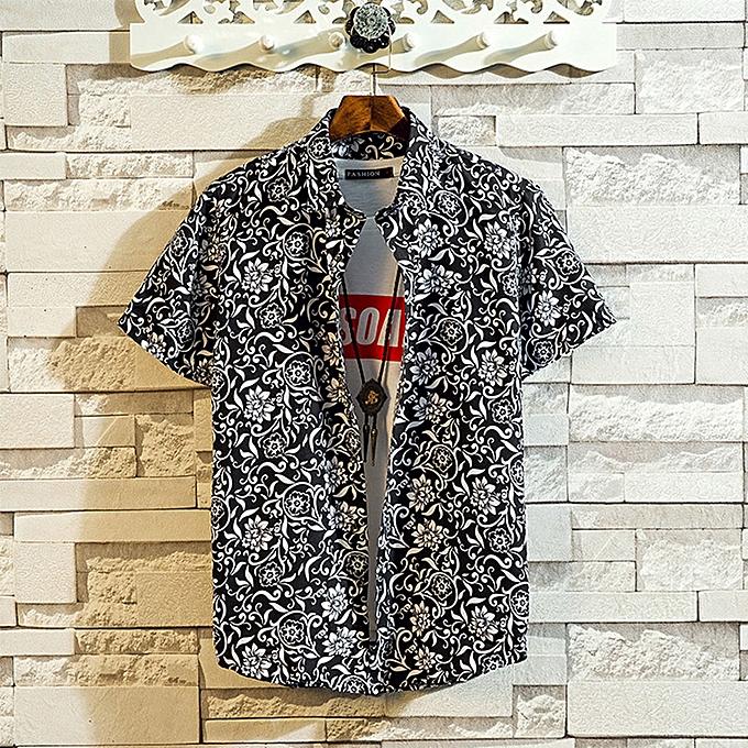 Fashion jiahsyc store Mens Summer Fashion Shirts Casual Short Sleeve Beach Tops Loose Casual Blouse à prix pas cher