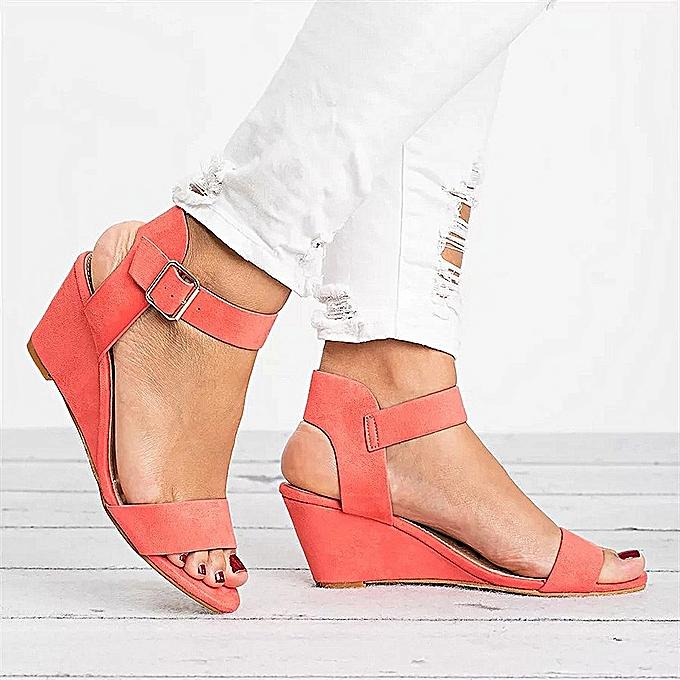 Fashion Ladies Fashion Solid Wedges Heel Buckle Strap Rohomme chaussures Sandals-rouge à prix pas cher    Jumia Maroc
