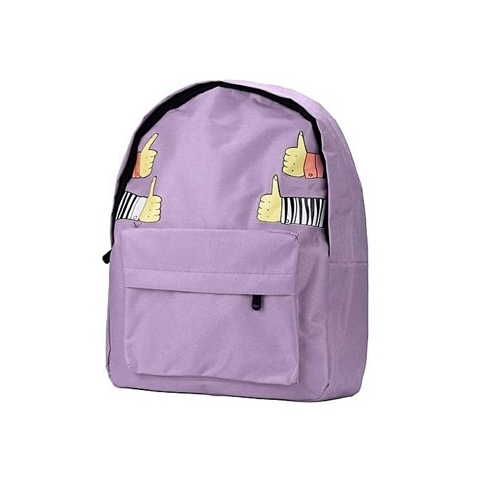 mode Singedanfemmes Double-Shoulder Thumb Thumb Up toile sac à dos Schoolsac PP -violet à prix pas cher