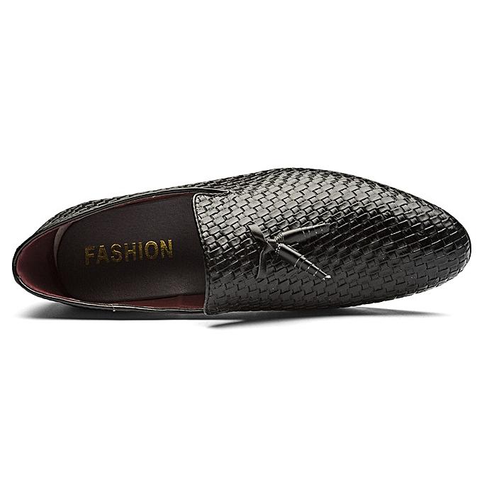 Fashion Men's woven chaussures Korean youth fashion chaussures cross-border explosion driving chaussures-noir à prix pas cher    Jumia Maroc