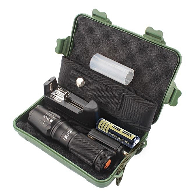GENERAL quanxinhshang X800 Zoomable XML T6 LED Tactical Flashlight+18650 Battery+Charger+Case à prix pas cher