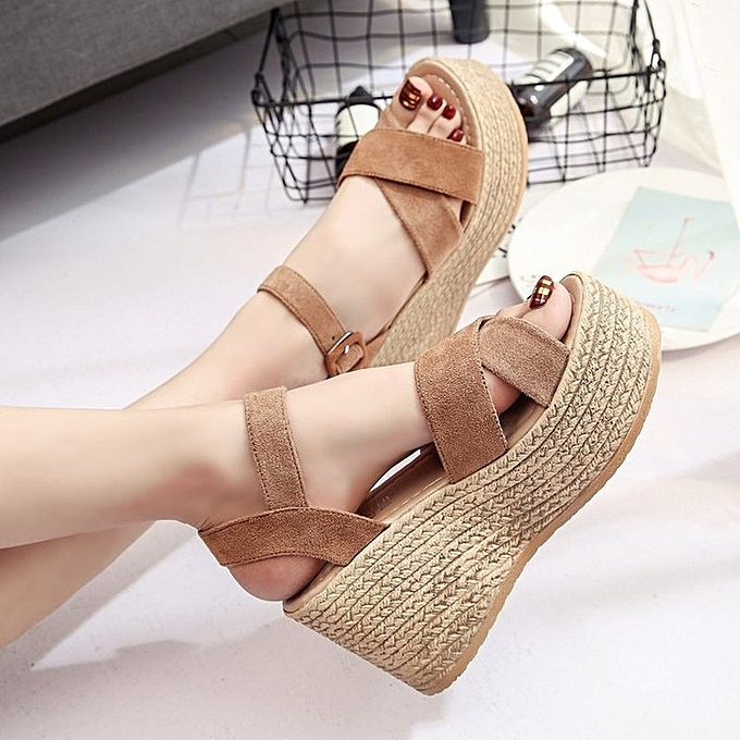 Other Stylish Wohommes Wedge Sandals Open Toe Buckle Summer chaussures -jaune. à prix pas cher