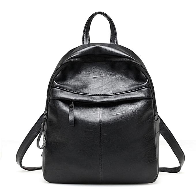 Fashion blicool travel wallet Wohommes Fashion Leather Simple School wallet Travel Backpack wallet-noir à prix pas cher