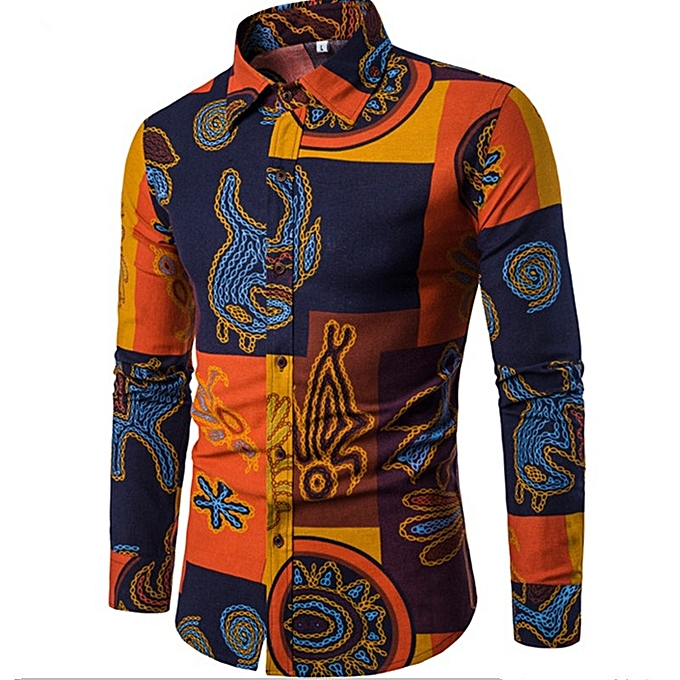 Other New Stylish Plus Taille Men's Long-sleeved Printing Shirt à prix pas cher