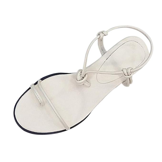 Fashion Blicool Shop femmes Sandals Summer Rough Root Vacation Roman femmes chaussures Cross Straps Mid-Heeled Sandals.-Beige à prix pas cher