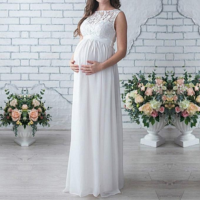 Fashion Pregnant femmes Lace Long Maxi Dress Maternity Gown Photography Props Clothes à prix pas cher