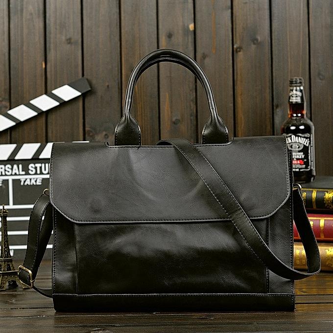 Other Retro Men's Briefcase Crazy Horse Leather Laptop Handbag Business Men Messenger Bags Leather Laptop Bag(noir) à prix pas cher