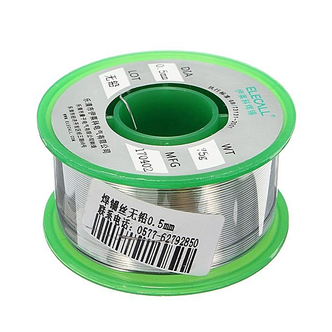 UNIVERSAL ELECALL 0.5mm 75g Rosin Core Tin Lead Free Rosin Roll Flux Reel Melt Core Welding Solder Wire à prix pas cher