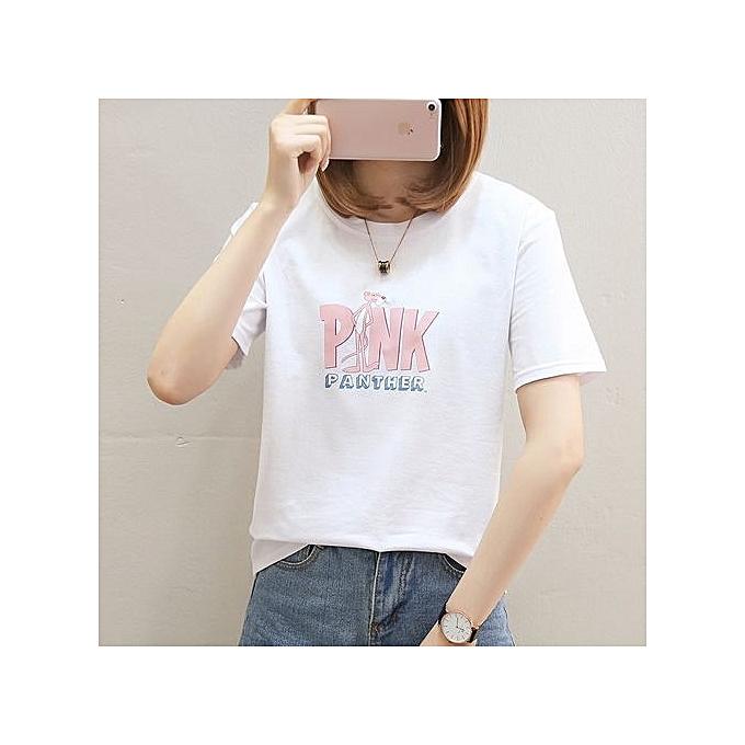 mode été Loose courte-sleeved T-shirt Shirt Fun Print Letter Pattern T-shirt à prix pas cher