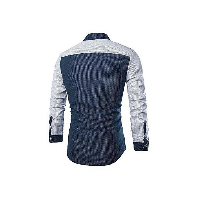 nouveauorldline Mode Hommes Luxe Chemise à hommeches longues Décontracté Slim Fit élégant chemisier Chemises hauts Marine à prix pas cher