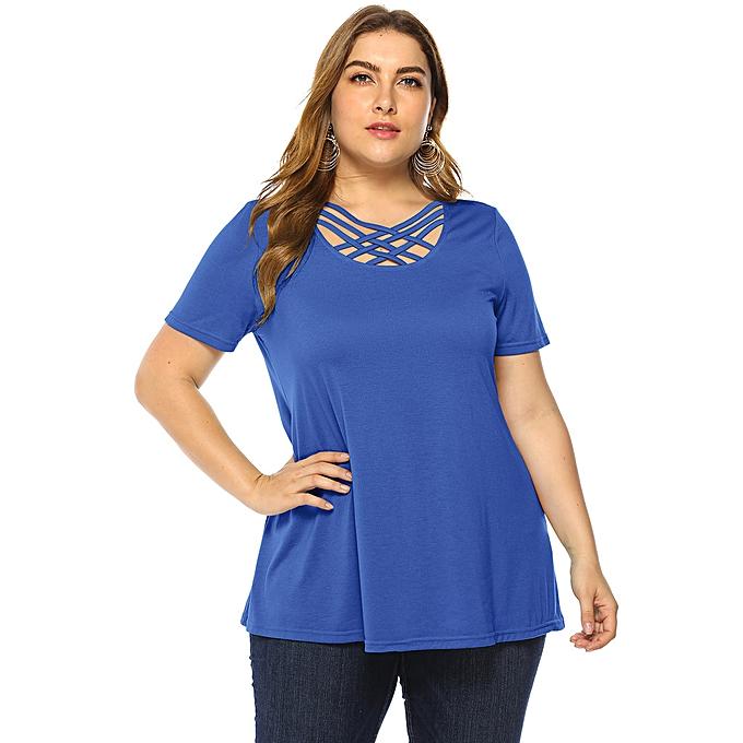 Fashion femmes Plus Taille Casual Solid Blouse Cross Strap Shirt Short Sleeve Tops à prix pas cher