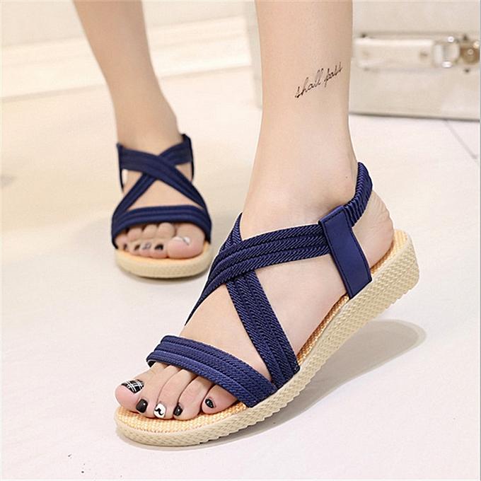 Fashion Summer chaussures femmes Flat Sandals Ladies Cross Strap Flip Flops chaussures Plus Taille à prix pas cher    Jumia Maroc