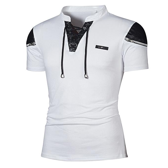 mode Jummoon Shop mode Personality Hommes& 039;s Décontracté Slim Patchwork manche courte T Shirt Top chemisier à prix pas cher
