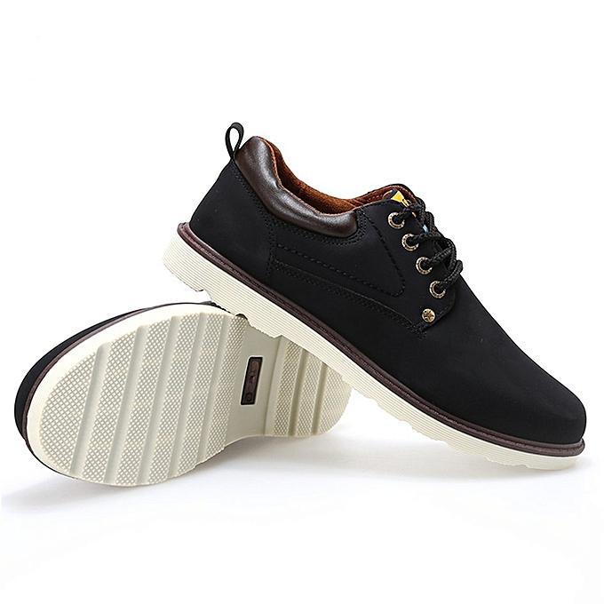 Generic TB Men Casual chaussures Fashion Lace-up Anti-skid Rubber Sole PU Leather chaussures-noir à prix pas cher    Jumia Maroc