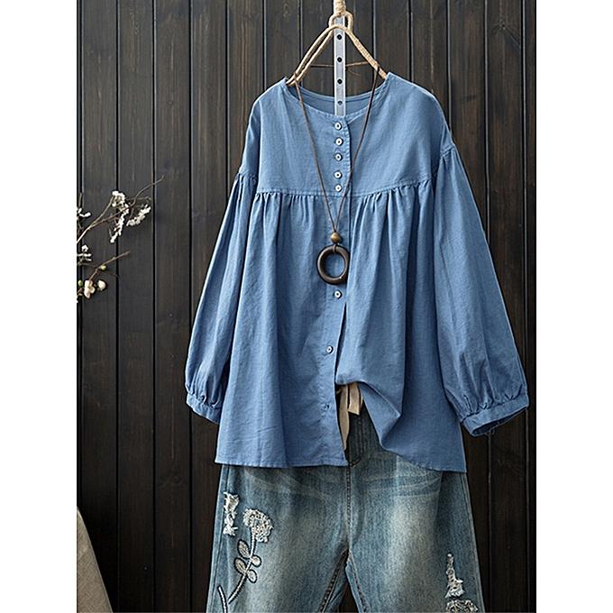 UNIVERSAL femmes britanniques plus col rond hommeches longues tops dames casual t-shirt blouse pull nouveau à prix pas cher