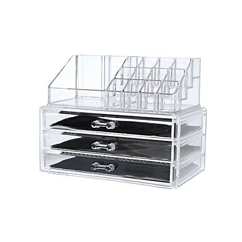 organisateur acrylique de maquillage avec des tiroirs. Black Bedroom Furniture Sets. Home Design Ideas