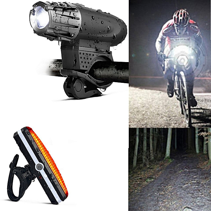 GENERAL quanxinhshang USB Rechargeable Bike Bicycle Cycling Headlight Front Light Tail Rear Lamp+ Bell à prix pas cher