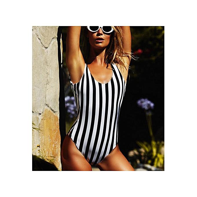 Autre Summer Sexy femmes One-Piece Swimsuit Ladies Swimwear Monokini Striped Bathing Suit Padded Swimming Costume( noir) à prix pas cher