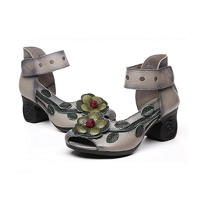 Fashion SOCOFY Fashion WoHommes Flower  Flower WoHommes Retro Genuine Leather Handmade Heeled Sandals-EU à prix pas cher  | Jumia Maroc beb3a2