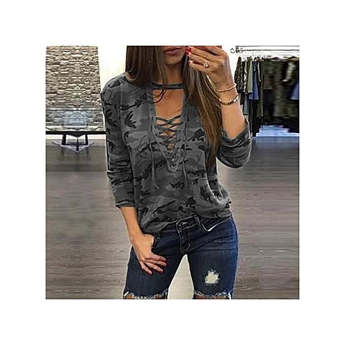 mode YOINS femmes nouveau High mode Clothing Décontracté manche longue V-neck gris T-Shirt Top à prix pas cher