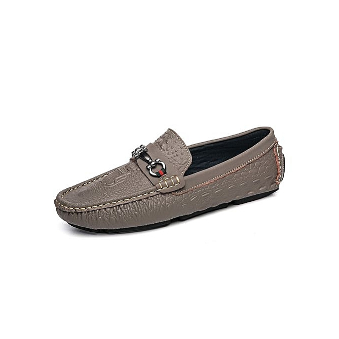 3b229aa20d05b Tauntte Crocodile Pattern Genuine Leather Loafers Breathable (Khaki) Casual  Shoes (Khaki) Breathable