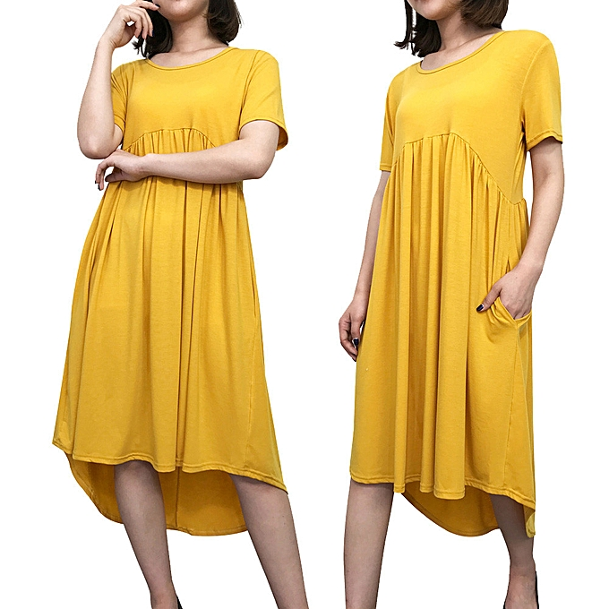 Fashion Wohommes Round Neck Short Sleeve Pockets Pleated Loose Irregular Casual Dress à prix pas cher