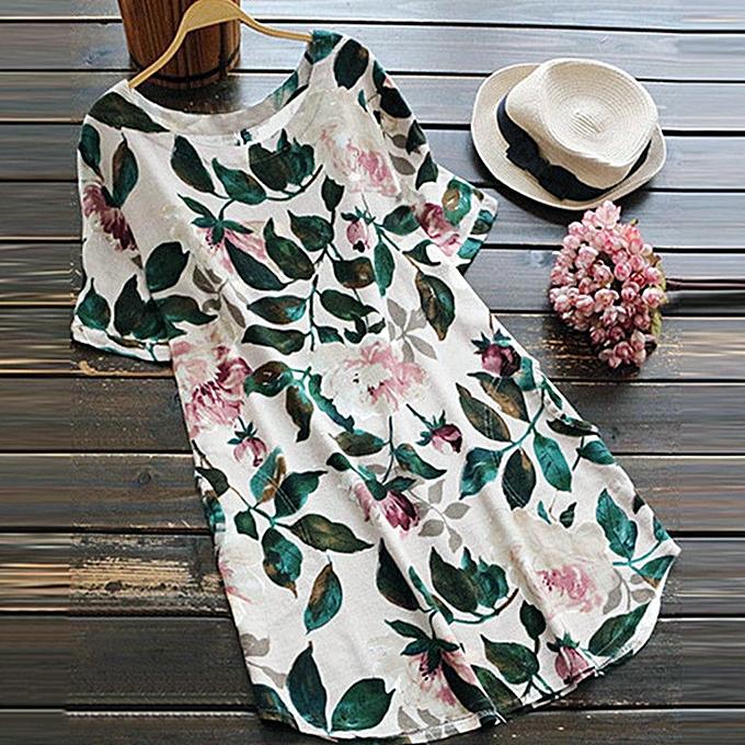 Fashion quanxinhshang femmes Lady Floral Print Mini Dress Summer Party Short Sleeve Dress Plus Taille à prix pas cher