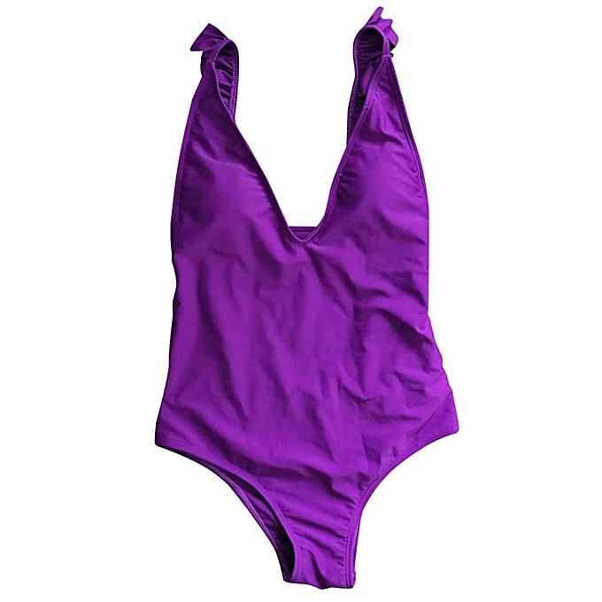 Autre High cut bikinis femmes ruffle one piece swimsuit female swimwear Push up bathing suit femmes bathers Brazilian bikini(violet) à prix pas cher