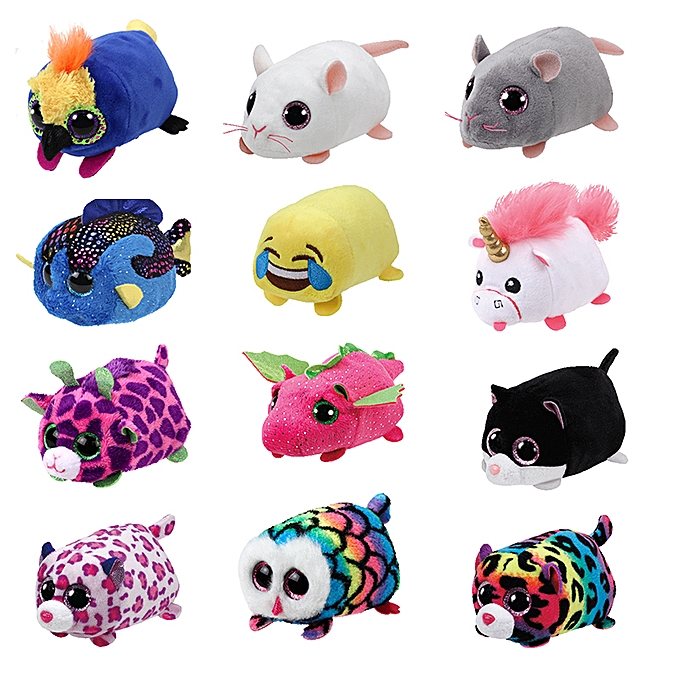 Autre 10CM Mini  Ty Plush Toys Beanie Boos Big Eyes fox unicorn Pocket TSUM Candy pig Stuffed  Doll rose Owl TY   Enfants Gift(noir cat) à prix pas cher