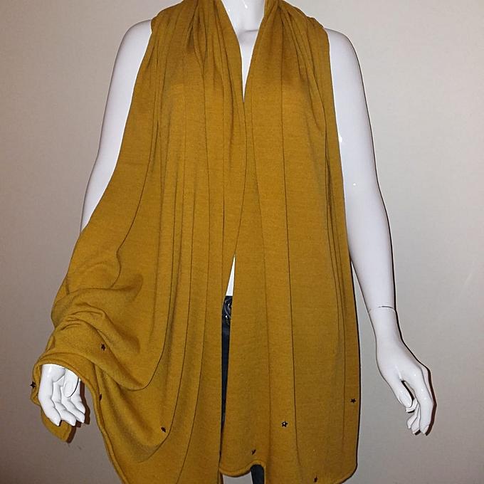 43057784a63 Echarpe étole laine jaune moutarde détail etoiles Châle Femme شال للنساء -