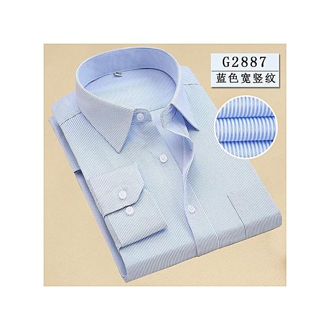 Generic Hommes& 039;s manche longue rayé Printed Affaires Shirt (bleu) à prix pas cher