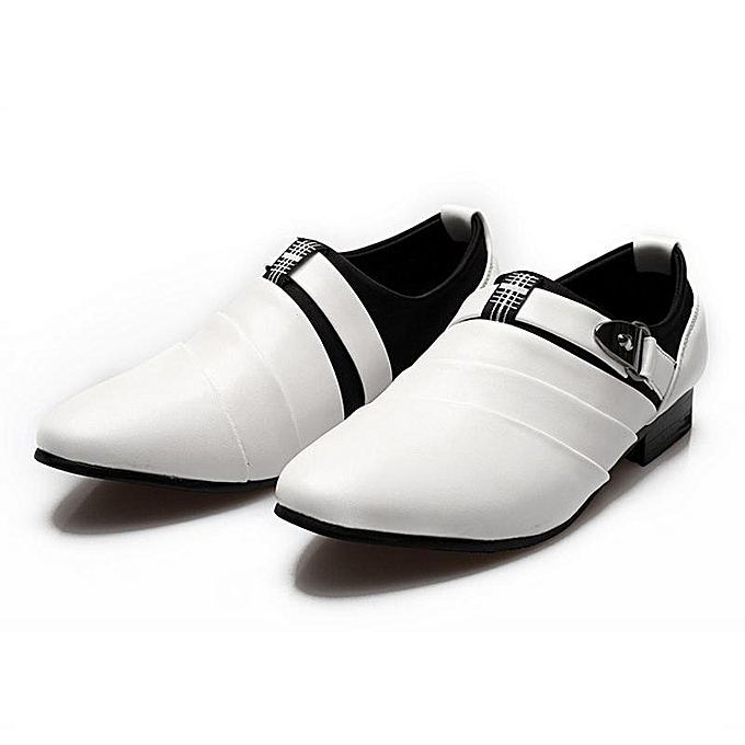 Fashion Men's Wing Tip Dress chaussures Buckle Slip On Loafers Leather Casual Flat chaussures blanc-EU à prix pas cher