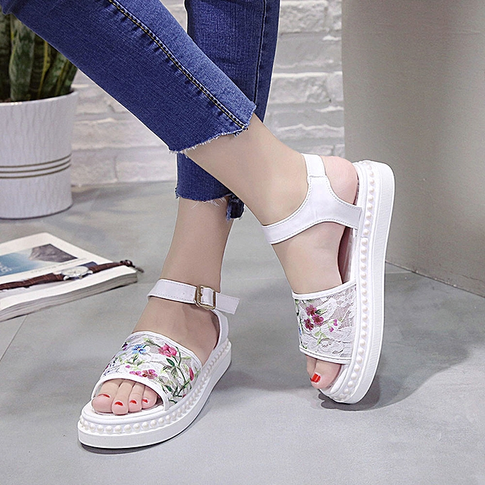 Fashion (Xiuxingzi) femmes Sandals Lace Flower Summer Slip-on Flats Sandals Casual Ladies chaussures WH 35 à prix pas cher