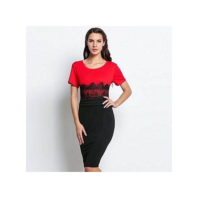 Sunweb Lady femmes Fashion O-Neck Cap Sleeve Lace Splicing Pencil Bodycon Dress Contrast Couleur Print Dress à prix pas cher
