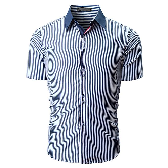 mode jiahsyc store Hommes Shirt mode rayé Couleur Male Décontracté manche courte Shirt  NY L à prix pas cher