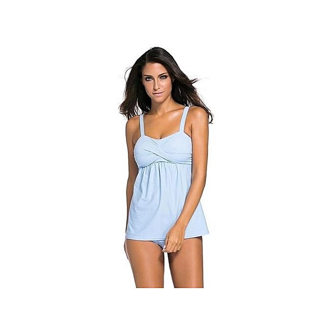 Generic Swing Tankini With Boyshort Bikini Swimsuit Set (bleu) à prix pas cher