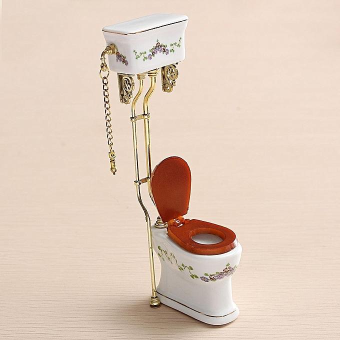 UNIVERSAL 1 12 Dollhouse Miniature Furniture Bathroom Toilet blanc Porcelain Closestool à prix pas cher