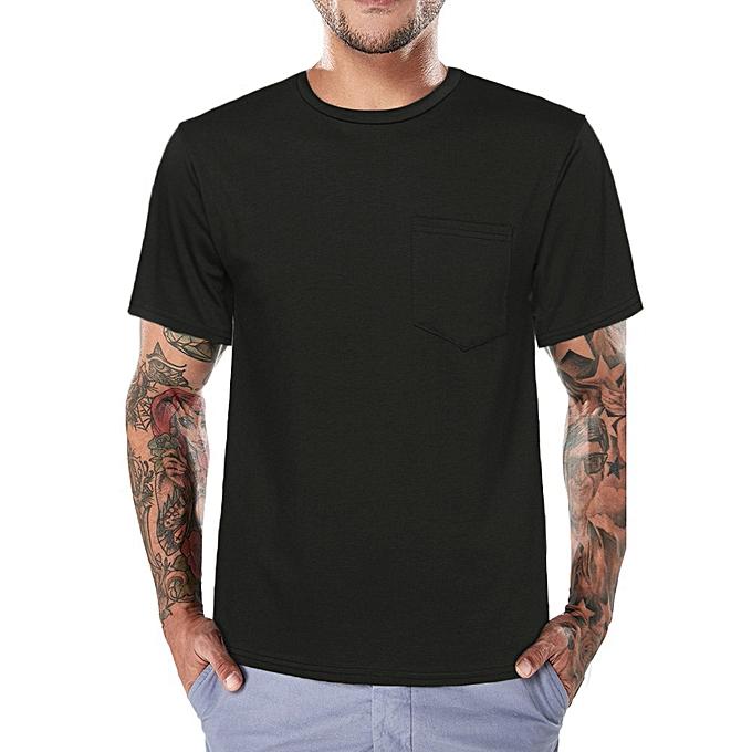Fashion Men Tee Slim Fit O Neck Short Sleeve Muscle Pocket Casual Tops Blouse BK 3XL -noir à prix pas cher